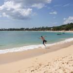 Alegria do Igor chegando na praia de Unawatuna