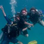 Igor, Eleanor e Kris no final do mergulho